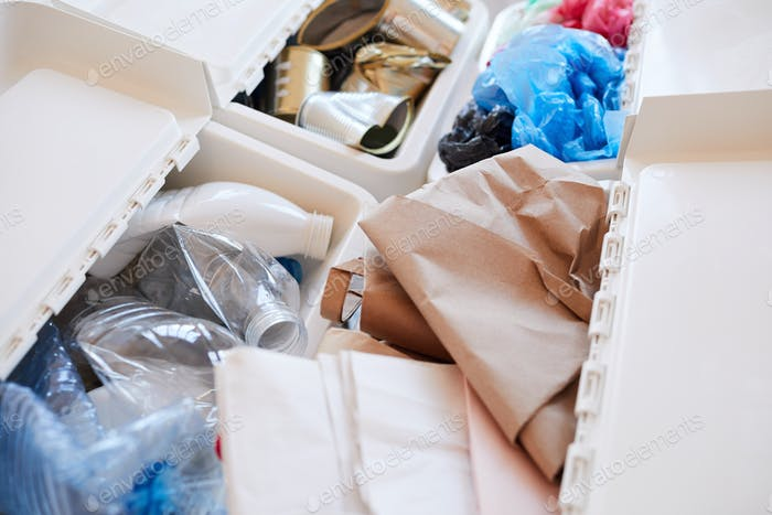 Waste Sorting at Home Close Up