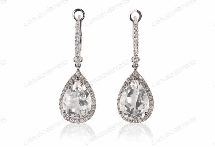 Beautiful Diamond gemstone cushion cut pear shape teardrop drop dangle diamond earrings.