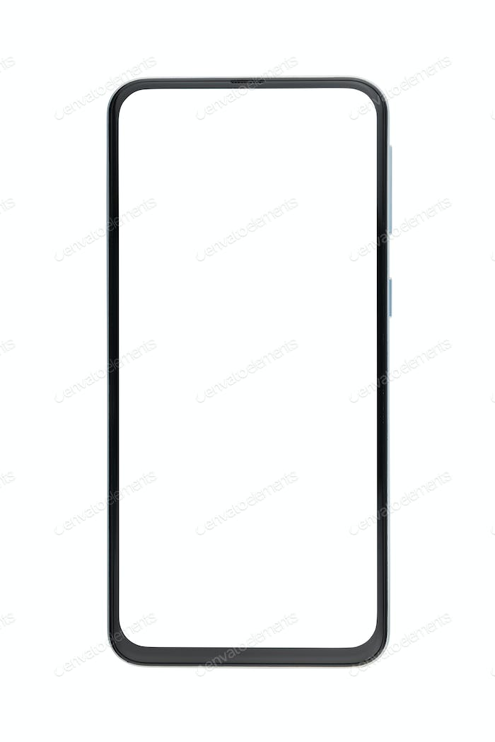 Bezel-less cellphone isolated on white background.
