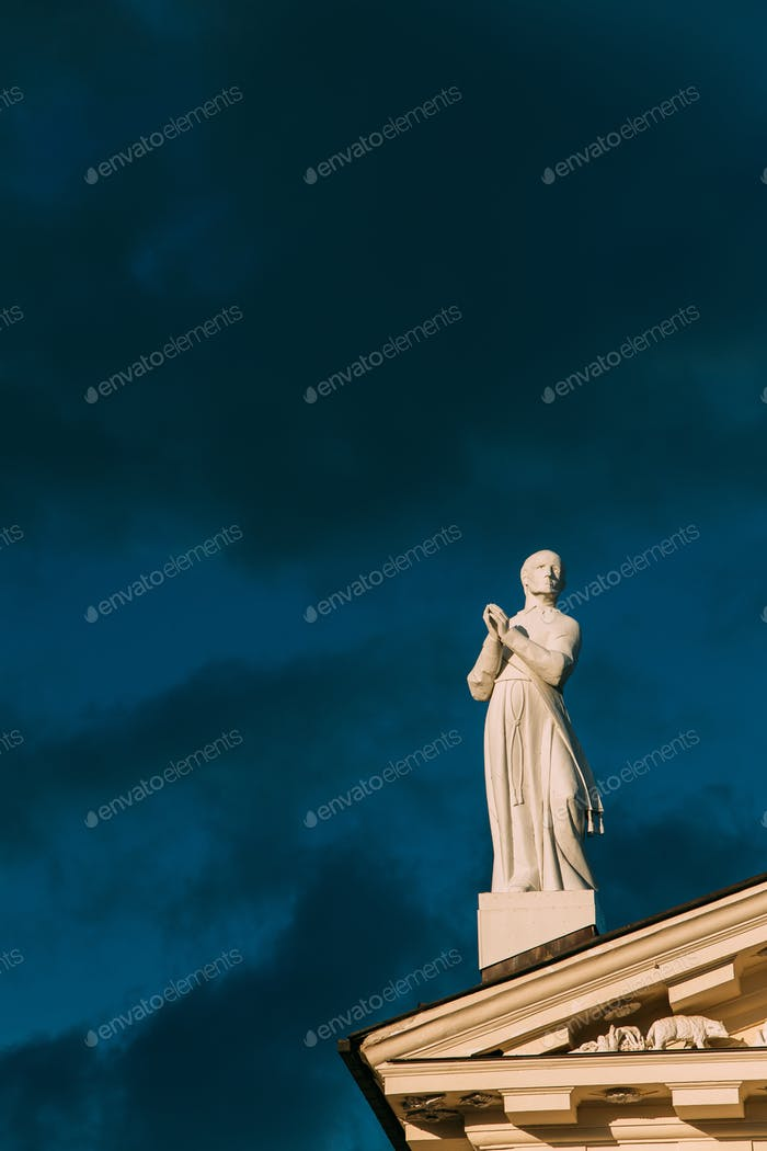 Vilnius, Lithuania. Close View Of Statue Of Saint Stanislaus Sym