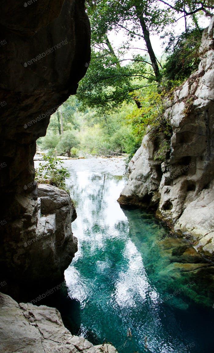 Resurgence of Sammaro River near Roscigno in Campania, italy