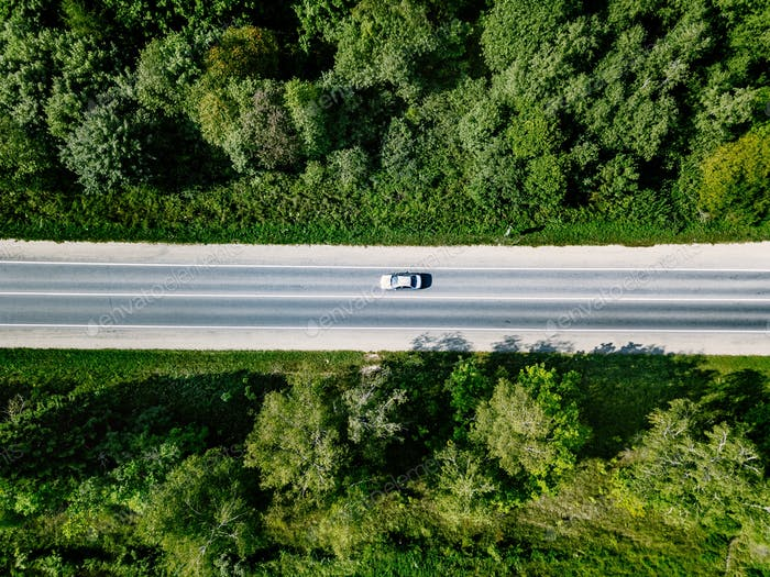 Aerial view of road with car going through green forest.