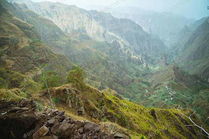 Santo Antao island, Cape Verde. Rocky mountains and Xo-xo valley in mist