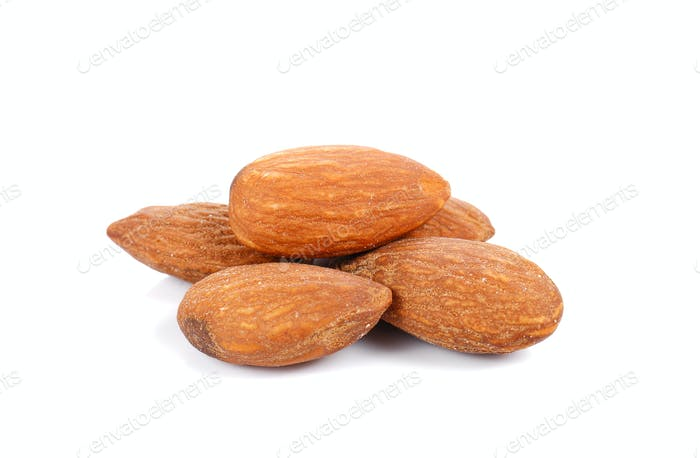 Almonds Salted on white background.
