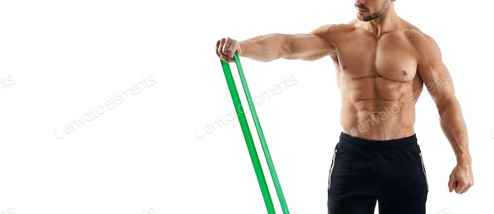 Incognito bodybuilder using resistance band