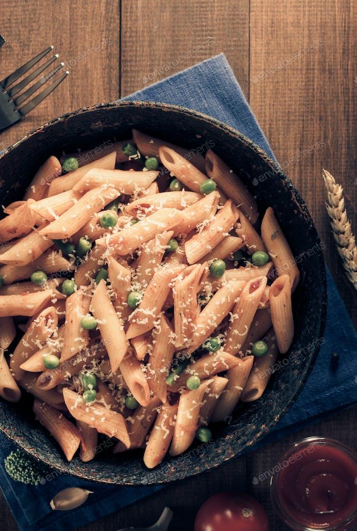 ready pasta on wood