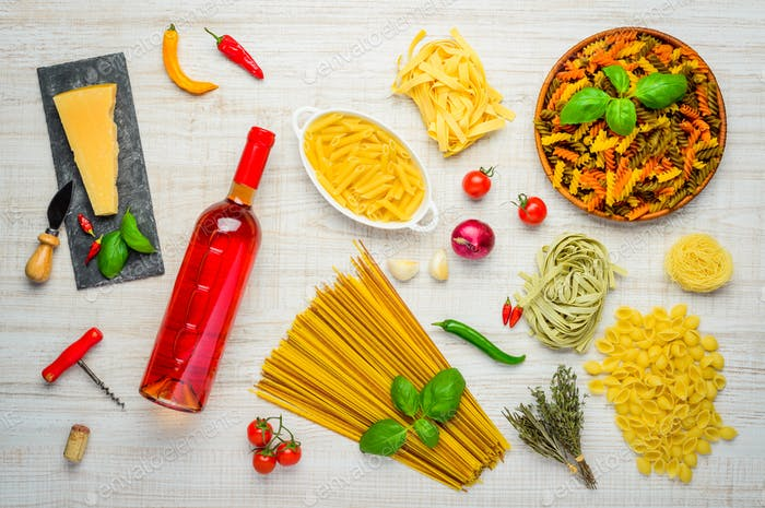 Rose Wine, Italian Pasta and Parmesan Cheese