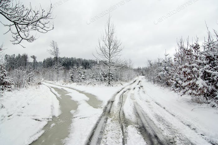 Crossroad in winter