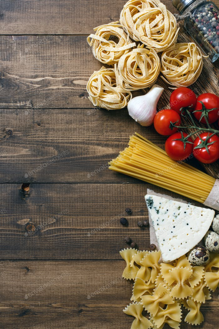 Ingredients for an Italian food recipe
