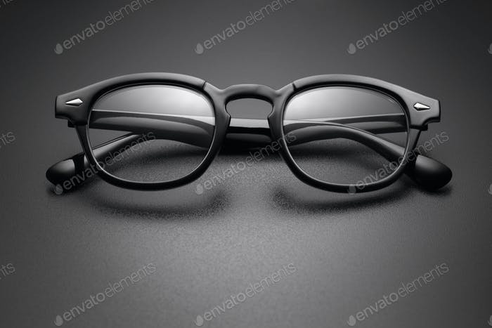 Black plastic eye glasses