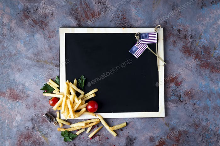 Fresh fries on chalkboard