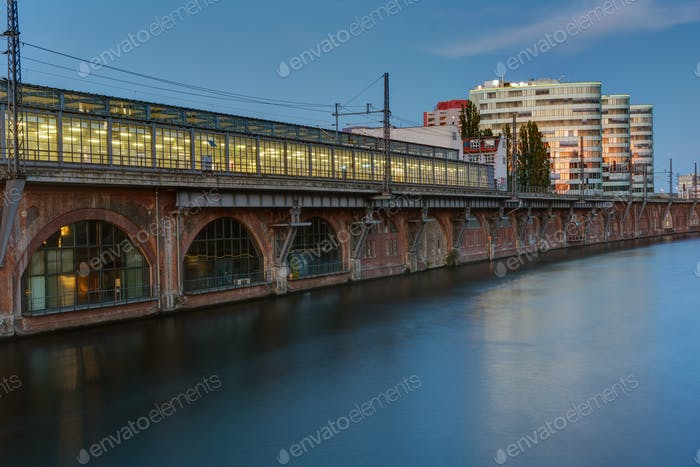 Trainstation at the river Spree in Berlin