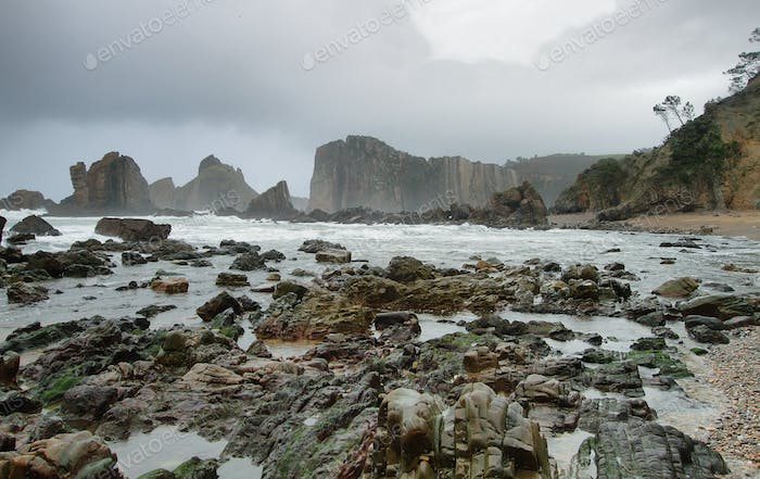 Beautiful beach of Silence, Asturias (Spain).