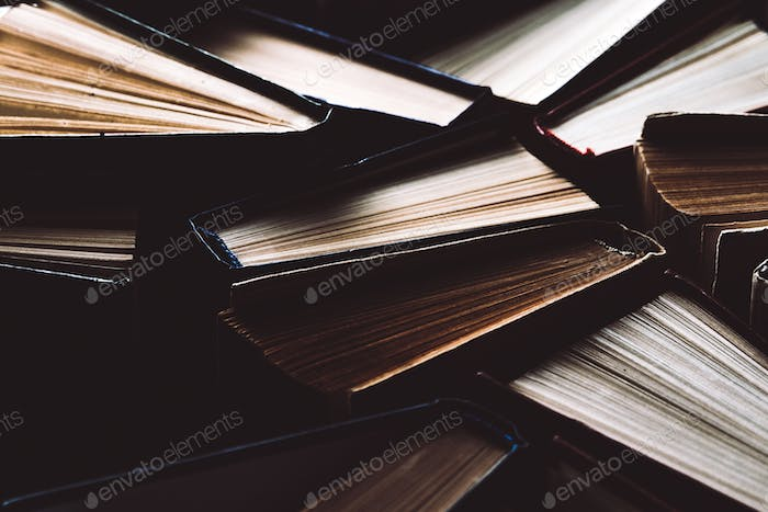 Old and used books. Knowledge and success in our careers, business and personal lives