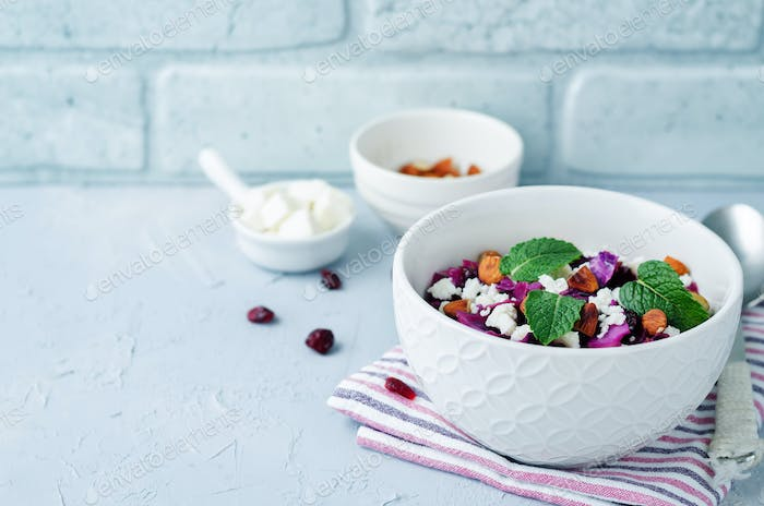 Red Cabbage with Cranberries, Almonds and Goat Cheese stew