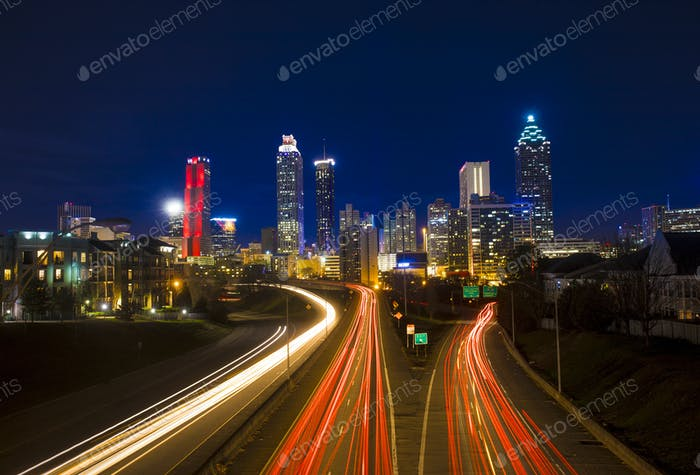 timelapse of traffic in downtown Atlanta