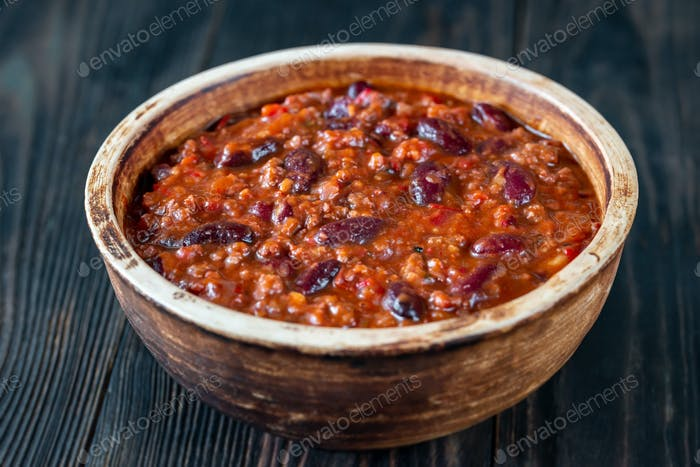 Bowl of chili con carne