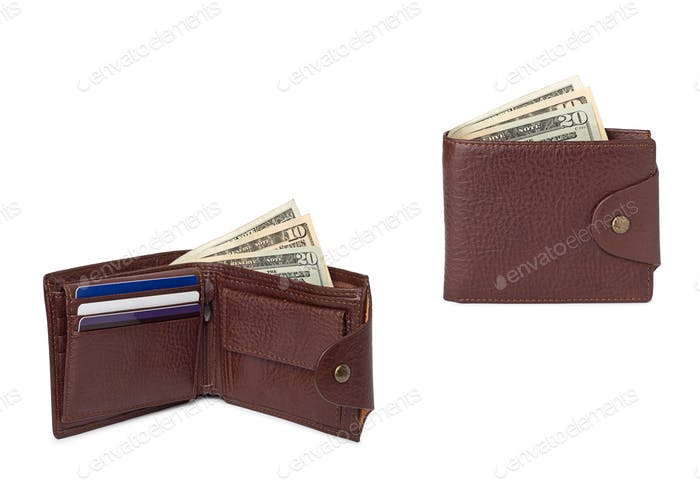brown leather wallets with money