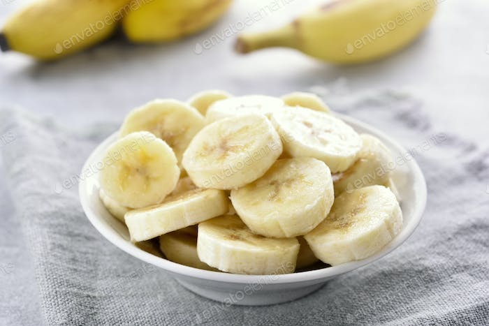 Banana slices in bowl.