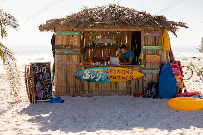 Surf lessons hut on the beach