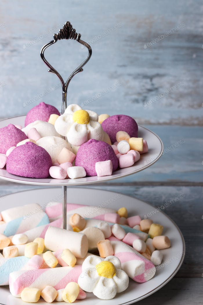 Colorful marshmallows on a plate