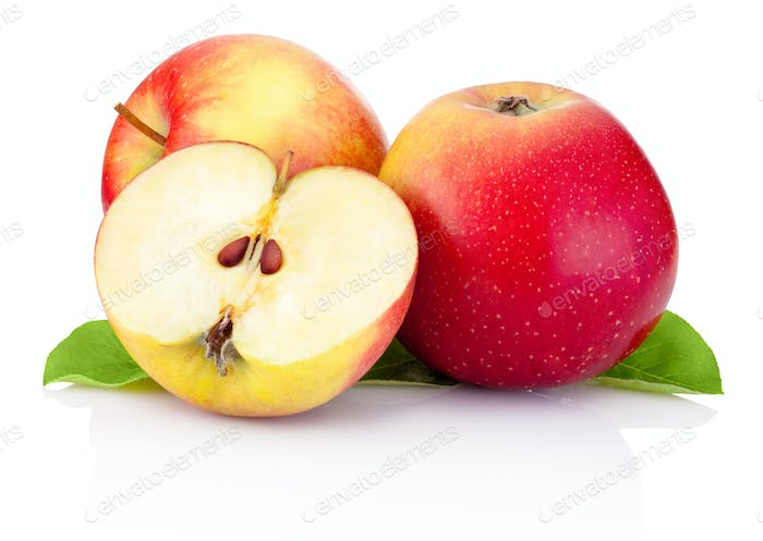 Two red apples and half with green leaves isolated on a white ba