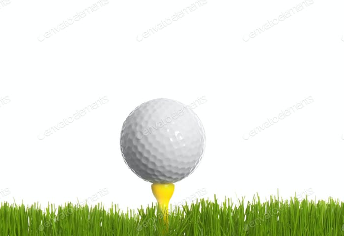 Golf ball on green grass isolated