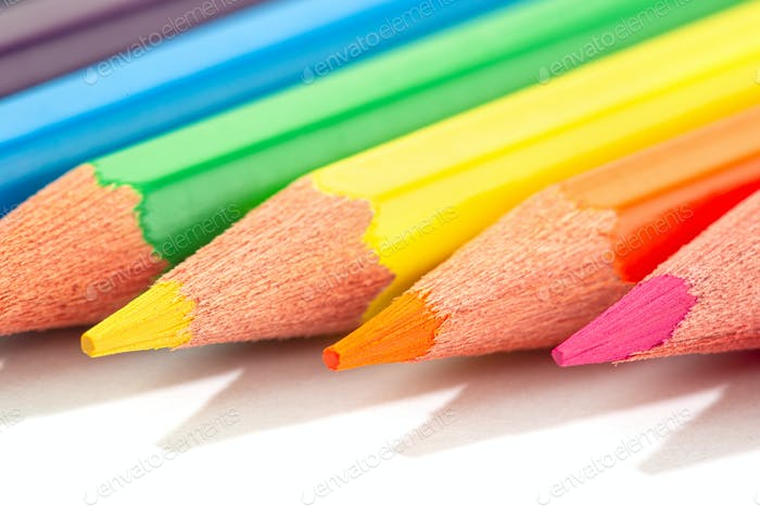 Macro shot of Color pencils isolated on white background
