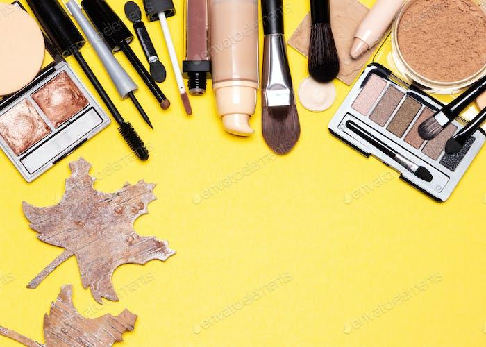 Autumn makeup frame background