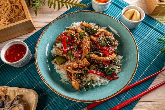Menü im asiatischen Stil