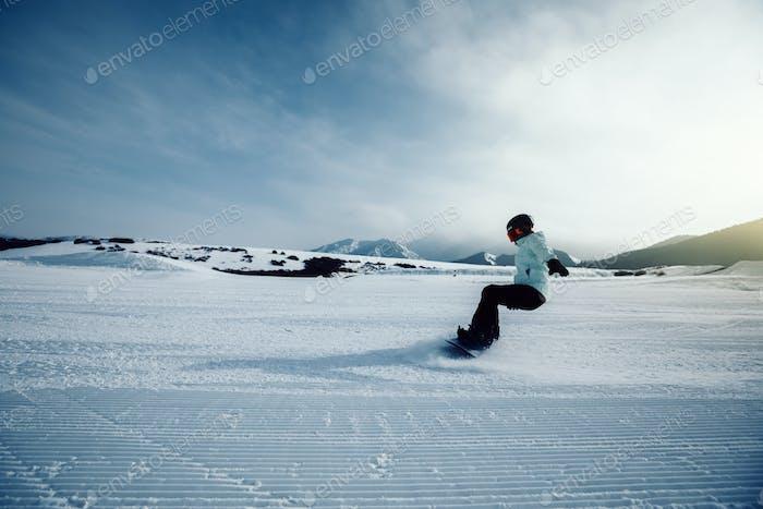 Snowboarding in winter