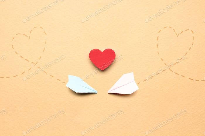 On love wings.