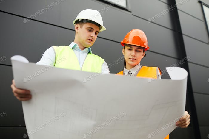 Examining the blueprint of new building