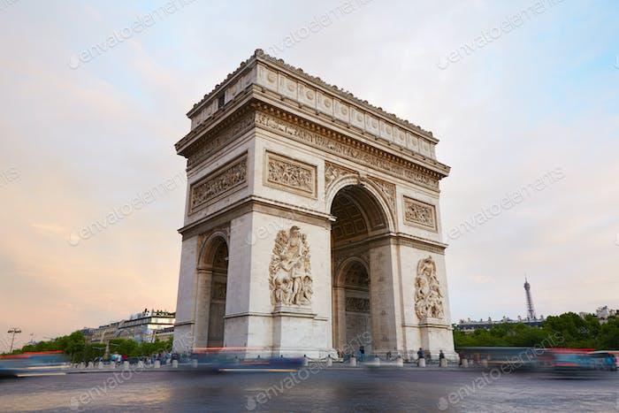 Arc de Triomphe, morning in Paris