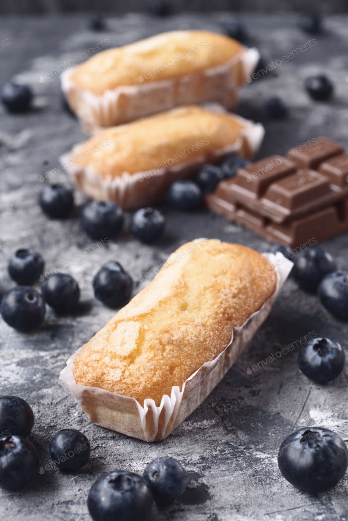 homemade sponge cakes with pieces of chocolate and blueberries on gray marbled textured background