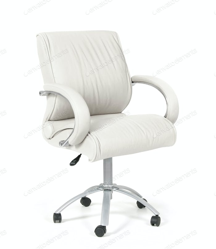 The office chair from white leather