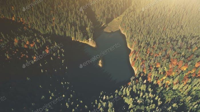 Hochgebirgssee Sonnenaufgang Holz Szene Luftaufnahme