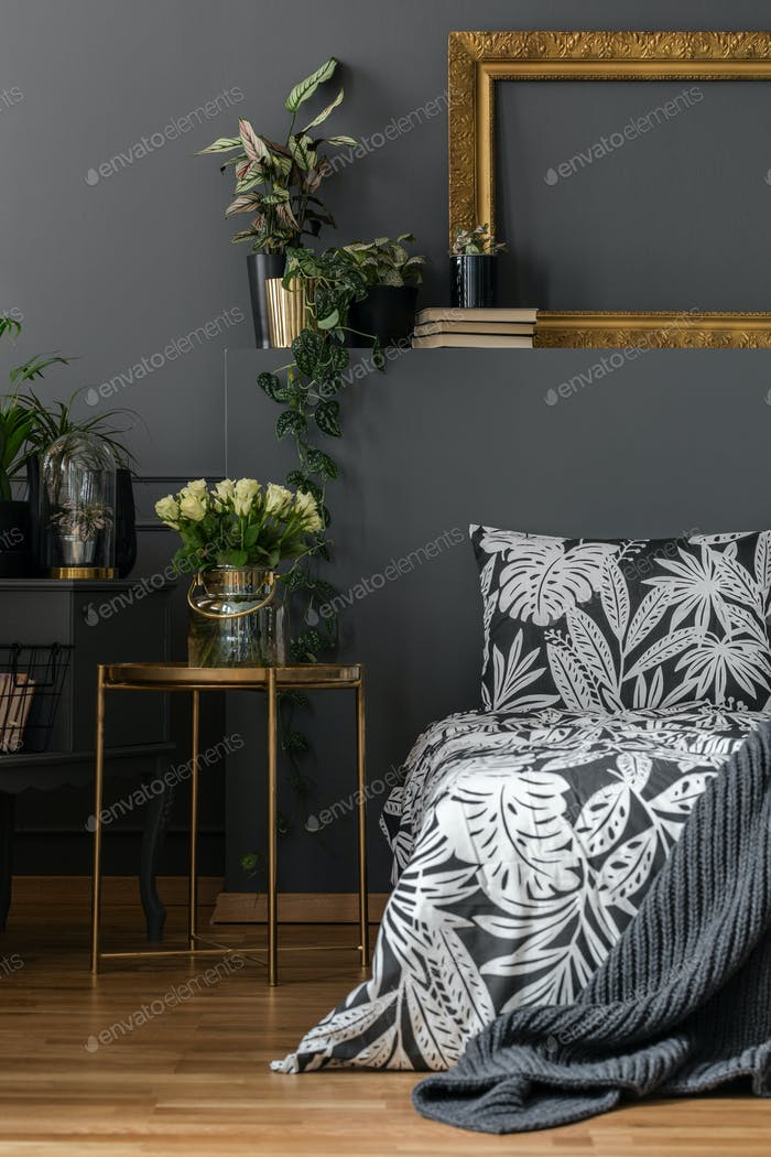 Grey cozy bedroom interior