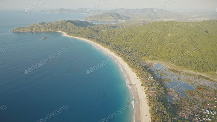 Sun tropic seascape of sea bay aerial. Sand beach of green tropical trees at countryside Philippines