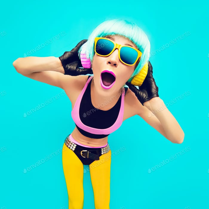 Glamorous party DJ Girl in bright clothes on a blue background l