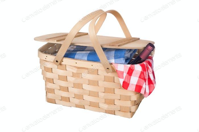 Picknickkorb und Wein