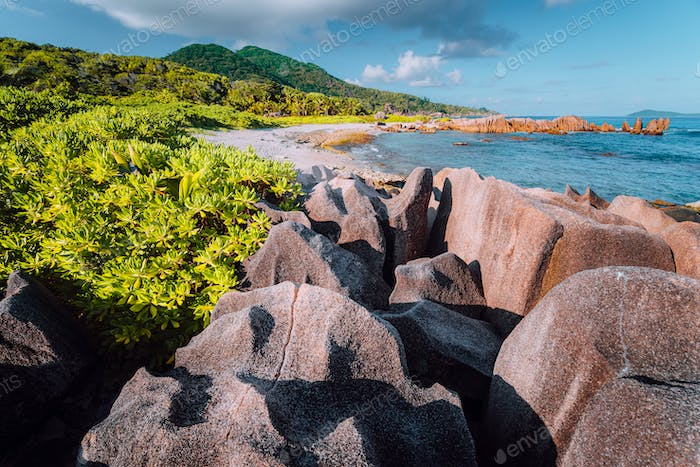 Natural tropical and isolated beach with big granite rocks, lush foliage on a sunny day, Grand L