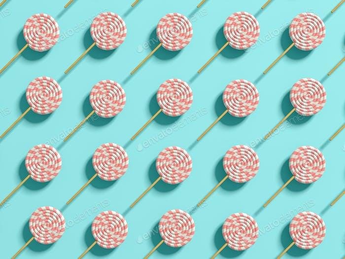 Punchy pastels lollipops abstract background 3D illustration