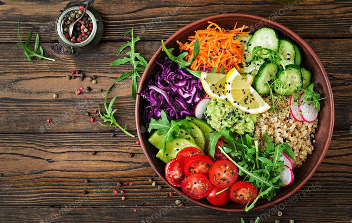 Vegetarian Buddha bowl with quinoa and fresh vegetables.
