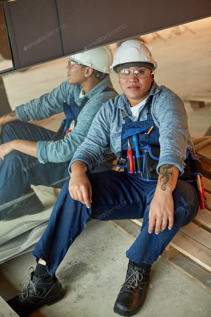 Mixed-Race Female Worker Posing