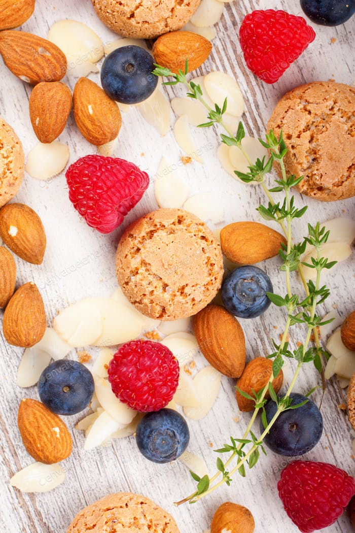 Cookies and berries background