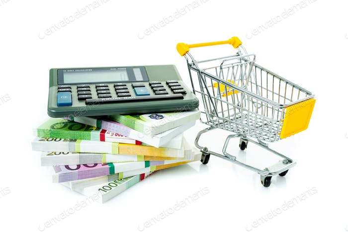Shopping cart with euro. Cash and calculator. Concept of shopping for the best deal before buying.