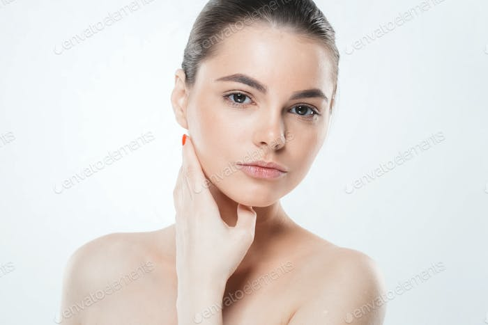 Woman skin face , beautiful healthy skin care female portrait, clean face without makeup,