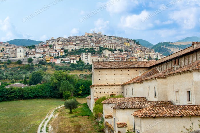 View of the town Padula from the Saint Lawrence Charterhouse Monastery