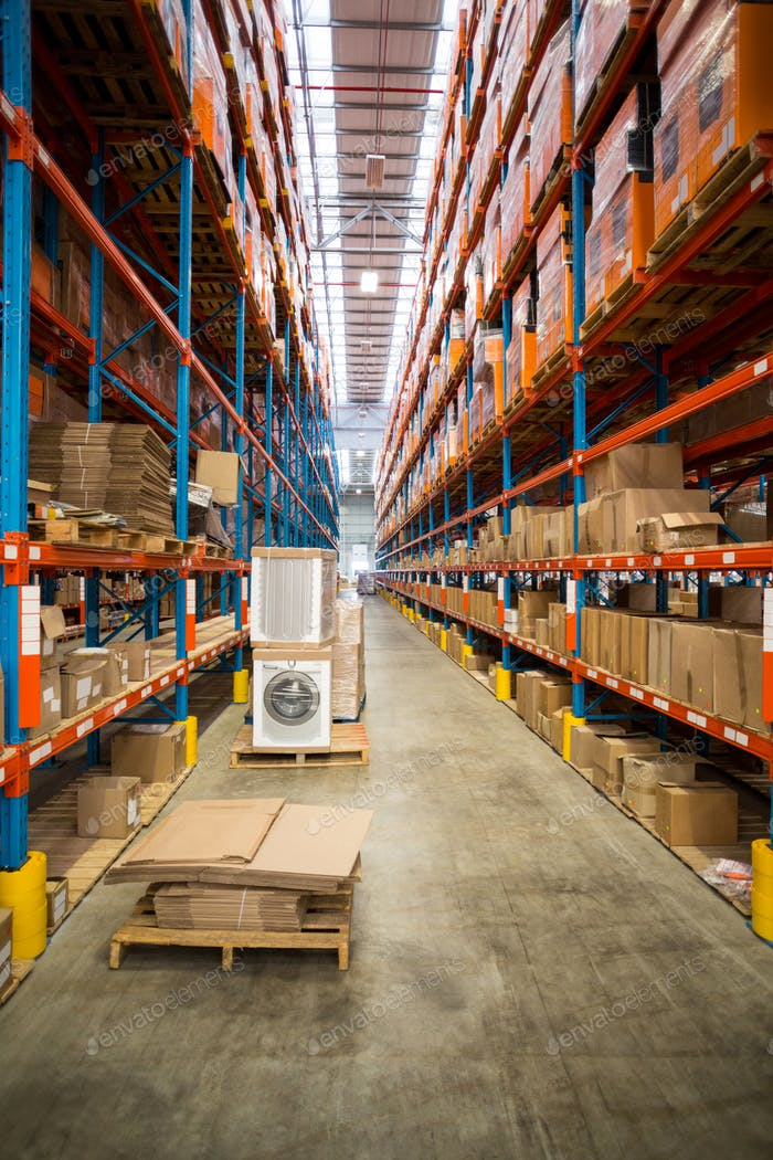 View of cardboard boxes tidy on shelves
